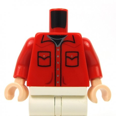Lego - Red Torso Shirt Button Down with Pockets and Silver Buttons & Black Undershirt