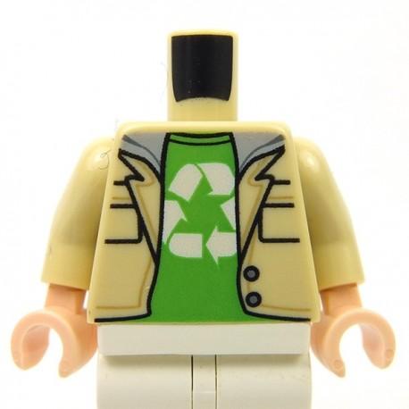 Lego - Tan Torso Jacket over Sweatshirt with Gray Hood over Bright Green Shirt, Recycling Logo