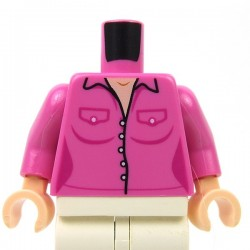 Lego - Dark Pink Torso Female Outline Button Down Shirt with Two Pockets & White Buttons