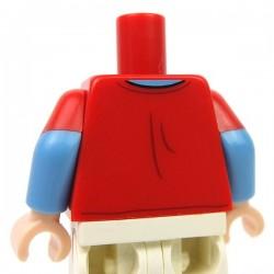 Lego Accessoires Minifigure - Torse - T-Shirt rouge avec un éclair (Rouge)