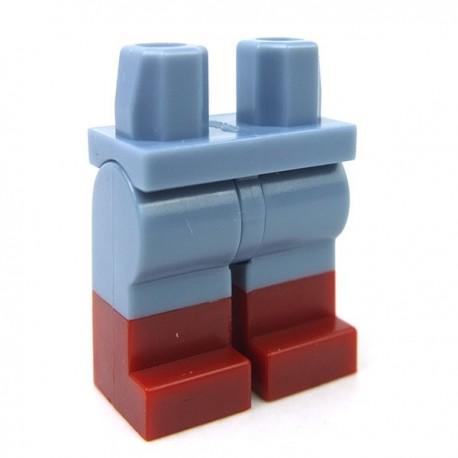 Lego Accessoires Minifig - Lego - Jambes avec bottes rouges foncées (Sand Blue)