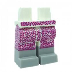 Lego Accessoires Minifig - Jambes avec une jupe à points roses & bottes (Blanc)