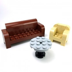 Lego Mini-set Minifigure - Canapé, Fauteuil, Table
