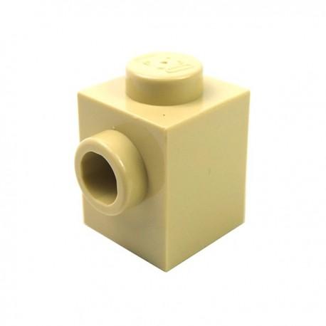 LEGO - Brique modifiée 1x1 avec 1 tenon sur le coté (Beige)