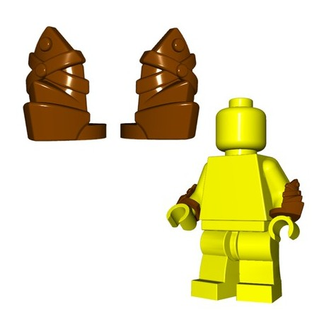Lego Minifig BrickWarriors - Brassards en Cuir (Marron - la paire)