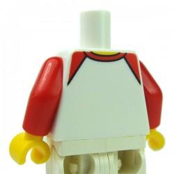 Lego Minifig - Torse - T-shirt, vaisseau spatial en orbite (Blanc)