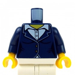 Lego Minifig - Torse - Veston féminin avec chemise à col blanc (Dark Blue)