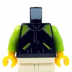 Lego Minifig - Torse - Veste noire, fermeture éclair, poches