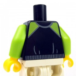 Lego - Black Torso Jacket, Lime Shoulders, Zipper, Lime Pockets