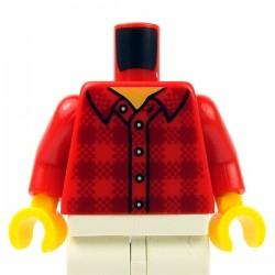 Lego Minifig - Torse - Chemise à carreaux , 5 boutons (Rouge)