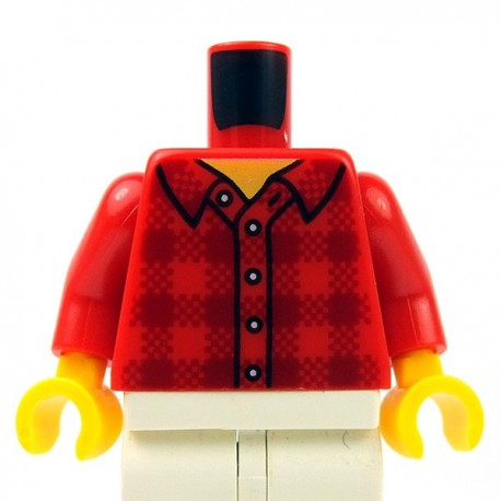 Lego - Red Torso Plaid Flannel Shirt, Collar & 5 Buttons