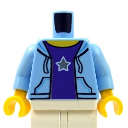 Lego - Bright Light Blue Torso Hooded Sweatshirt, Purple Shirt, Silver Star