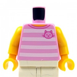 Lego - Bright Pink Torso T-Shirt with 4 White Horizontal Stripes Front & Back with Cat