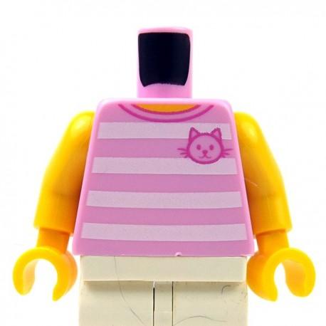 Lego New Light Bluish Gray Minifig Torso Hoodie Horizontal Stripes Front Pocket