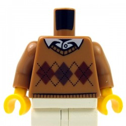Lego - Medium Dark Flesh Torso Argyle Sweater, White Shirt Collar & Button