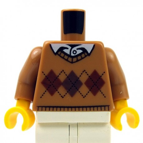 Lego - Medium Dark Flesh Torso Argyle Sweater, White Shirt Collar & Button