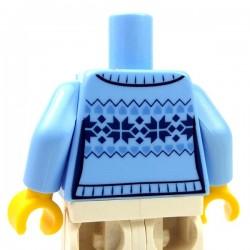Lego Minifig - Torse - Pull Fair Isle avec col de chemise blanche & 4 boutons (Bright Light Blue)