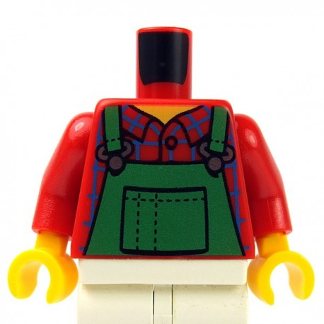 Lego - Red Torso Overalls Green, Check Shirt, Wide Neckline, Dotted Seams on Back