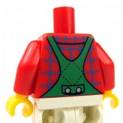 Lego Minifig - Torse - Salopette Vere, chemise, large encolure (Rouge)
