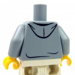 Lego - Light Bluish Gray Torso Hooded Sweatshirt Open, Drawstrings over Dark Red Top