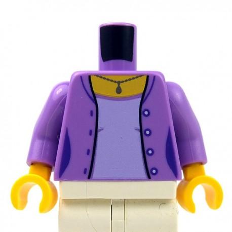 Lego - Medium Lavender Torso Female Open Jacket 4 Buttons, Necklace, Lavender Shirt