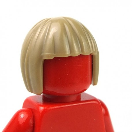 LEGO - Dark Tan Minifig, Headgear Hair Short, Bob Cut