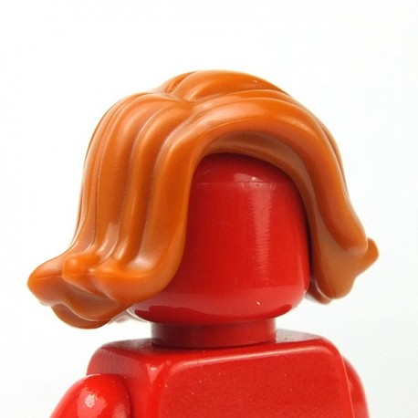 LEGO Minifigure - Cheveux balayées sur le côté (Dark Orange)