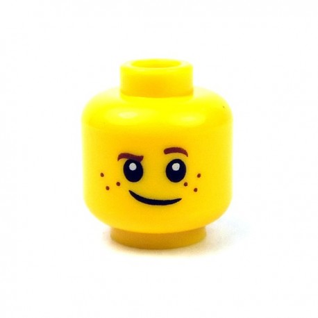 Lego - Yellow Minifig, Head Brown Eyebrows, Raised Left Eyebrow, Freckles, Crooked Smile