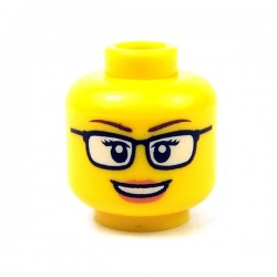 LEGO - Yellow Minifig, Head Female Glasses Black, Open Mouth Smile,Peach Lips