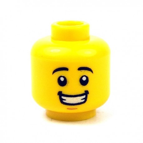 Lego - Yellow Minifig, Head Black Eyebrows, White Pupils, Chin Dimple, Smile with Teeth