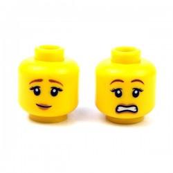 LEGO Minifigure - Tête féminine jaune 15 (Double Visage)