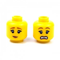 LEGO - Yellow Minifig, Head Dual Sided Female Brown Eyebrows, Peach Lips, Pensive Smile/Scared