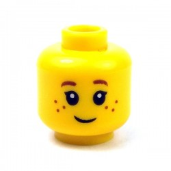 LEGO - Yellow Minifig, Head Black Eyelashes, Brown Eyebrows, Freckles