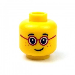 Lego - Yellow Minifig, Head Glasses with Red Round Frames, Black Eyebrows, Freckles
