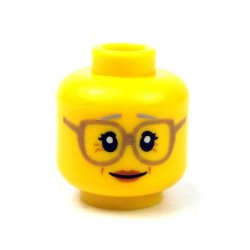 LEGO - Yellow Minifig, Head Female Glasses Dark Tan, Gray Eyebrows, Crow's Feet, Peach Lips
