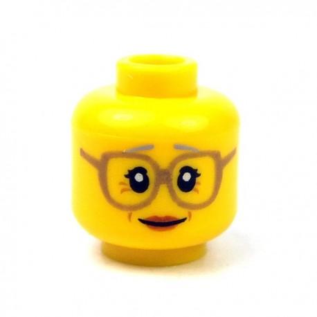 LEGO - Yellow Minifig, Head Female Glasses Dark Tan, Gray Eyebrows, Crow's Feet, Peach Lips