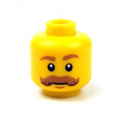 Lego - Yellow Minifig, Head Moustache Brown Bushy Curled, Brown Eyebrows, White Pupils