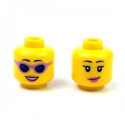 LEGO - Yellow Minifig, Head Dual Sided Female Black Eyebrows, Pink Lips, Eyelashes/Sunglasses with Purple Frames