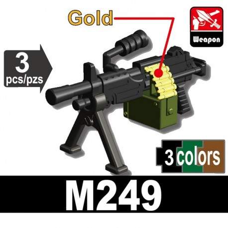 Lego Accessoires Minifig Si-Dan Toys - M249 Machine gun (Noir - Vert - Doré)
