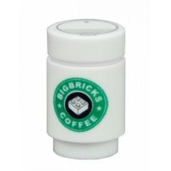 Lego Minifigure Custom Bricks - Café Big Bricks Coffee (Blanc)