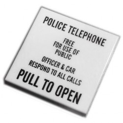 Custom Bricks - Police Box Call Sign (Tile 2x2 White)