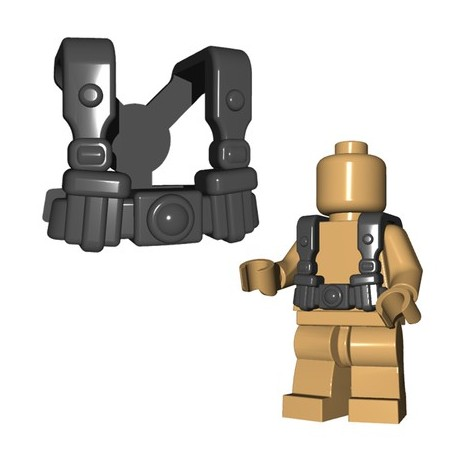Lego Accessoires Minifigures - BrickWarriors - German Infantry Suspenders (Dark Bluish Gray)