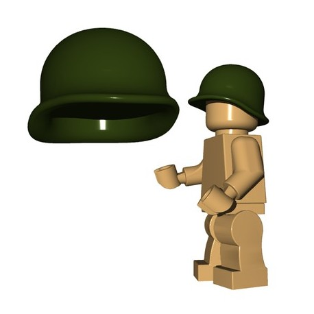 Lego Accessoires Minifigures - BrickWarriors - Casque US M1 (Vert Militaire)