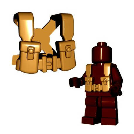 Lego Accessoires Minifigures - BrickWarriors - British Suspenders (Beige foncé)