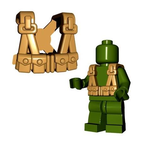 Lego Accessoires Minifigures - BrickWarriors - US Infantry Suspenders (Beige foncé)