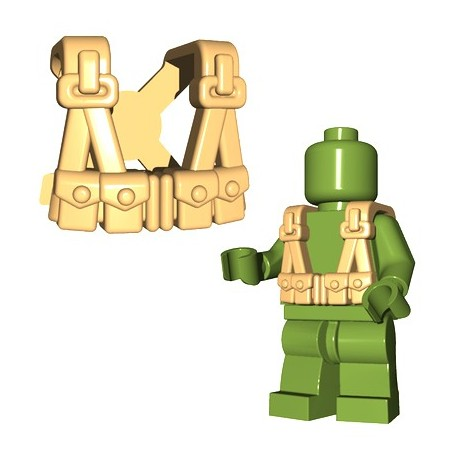 Lego Accessoires Minifigures - BrickWarriors - US Infantry Suspenders (Beige)