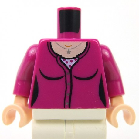 Lego - Magenta Torso Female Outline, Cardigan Sweater, Undershirt & Silver Star Pendant