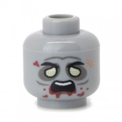 Minifig Co.- Zombie Head (Light Bluish Gray)