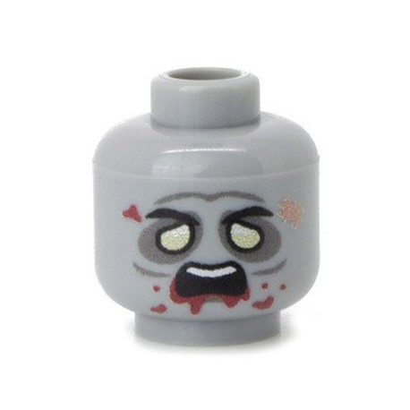 Lego Custom Minifig Co. - Tête - Zombie (Light Bluish Gray)