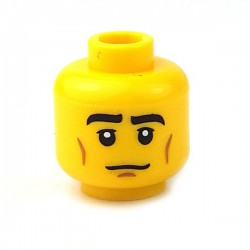 Lego - Yellow Minifig, Head Black Eyebrows, Cheek Lines, White Pupils